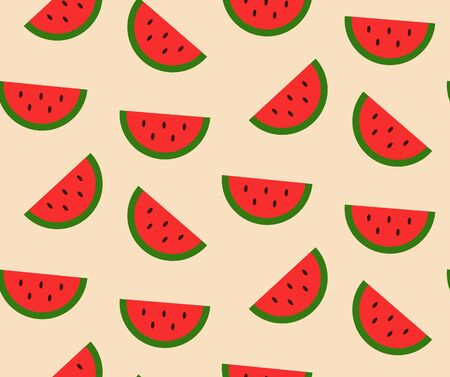 Vector seamless pattern with watermelon in color Vettoriali