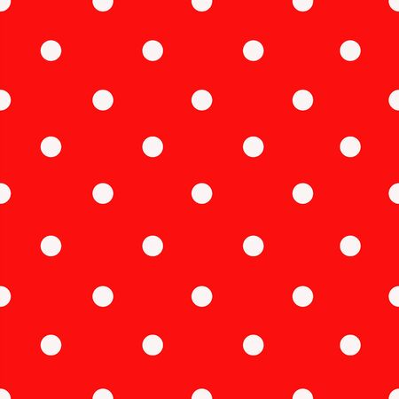 Vector red and white polka dot seamless pattern