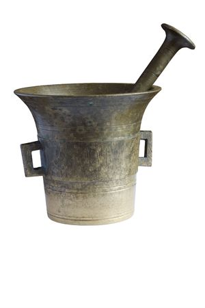 old mortar on white backgroound Stock Photo - 3071211