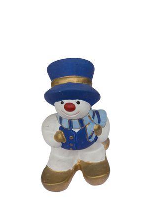 snowman figure skiing on white background photo