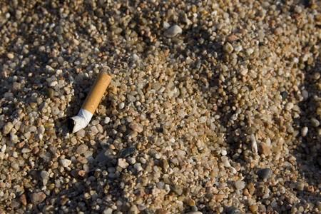 closeup of a cigarette butt found on rocky beach Stock Photo - 4139389