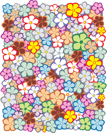 Floral designs with multi-colored flowers Vector