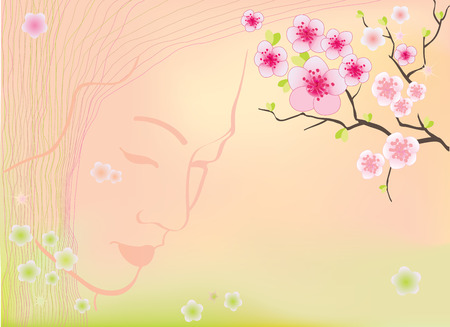 Sakura blossoms background vector illustration with mesh, gradients Vector
