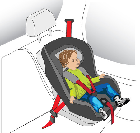 auto seat for child, boy with safety belt on Vector