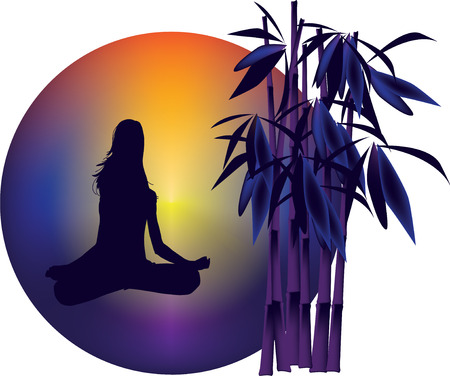 Woman in meditation pose on the sunrise background Vector