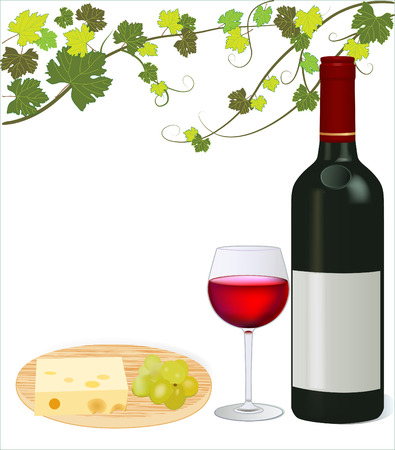 Red wine with grape and cheese isolated vector illustration