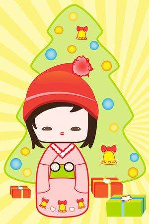 Japanese Kokeshi doll christmas scene with christmas tree and gifts Vector
