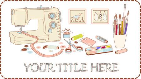Banner for crafts and needleworks vector illustration brown frame Vector