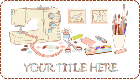 textile machine: Banner for crafts and needleworks vector illustration brown frame