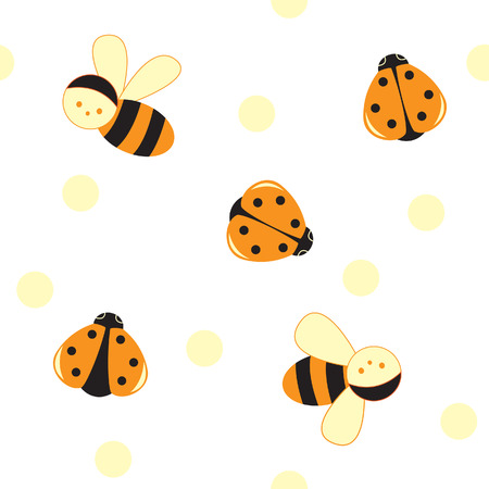 textil: Seamless insects pattern with bee and ladybird; vector illustration Illustration
