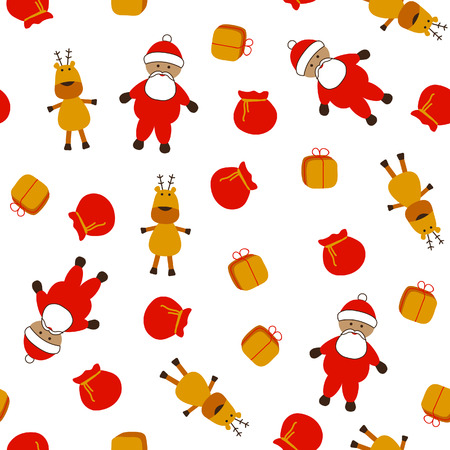 Seamless christmas pattern with Santa, Rudolph and gifts; vector illustration Stock Vector - 5580257