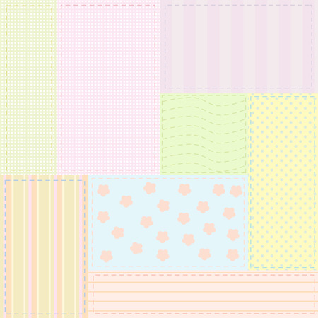 textil: Seamless patchwork pattern with baby colors for fabrics or wrapping paper; vector illustration