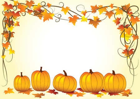 Autumn vector illustration with leaf and halloween pumpkins Stock Vector - 5622088