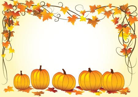 zucche halloween: Illustrazione vettoriale con foglia d'autunno e Halloween Pumpkins