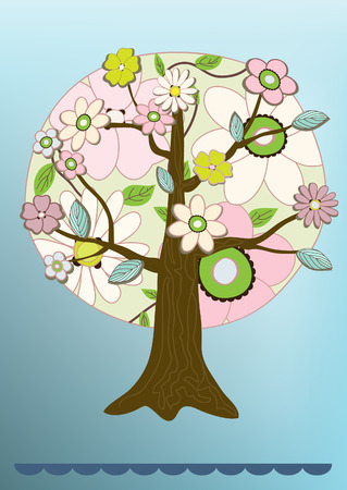 felicitation: flower tree felicitation card vector illustration