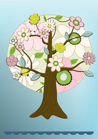 felicitation: flower tree felicitation card vector illustration