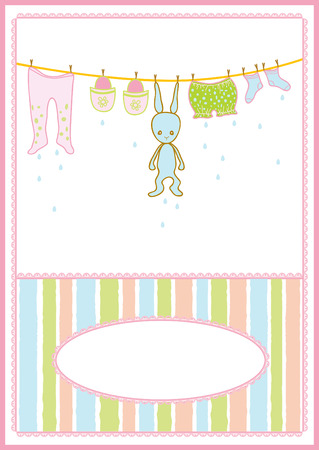 Baby arrival announcement card, baby clothing and accessories, vector illustration Stock Vector - 5781604