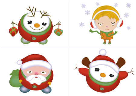 happening: Christmas icons isolated with santa, snowman, little girl