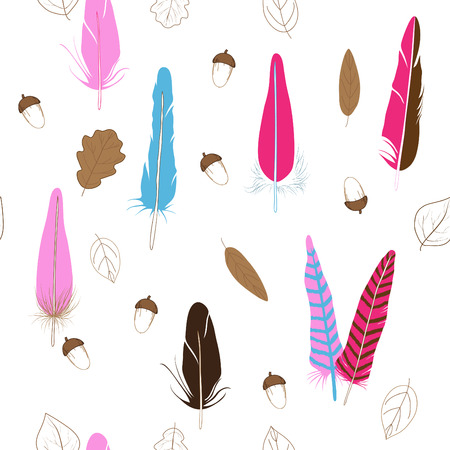 Vector, seamless backgroung with feathers, leaves and acorns Vector