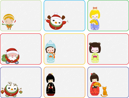 Set of Christmas labels with Santa, Snowman, little girl and Kokeshi dolls, vector illustration Stock Vector - 6106193