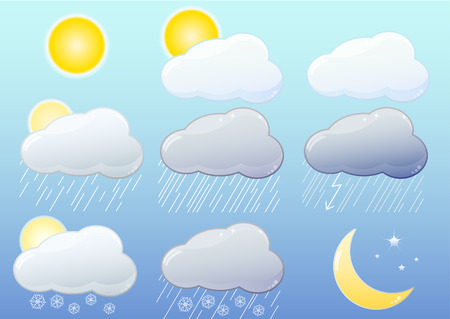 9 glossy iconsl representing  different weather symbol: sun, clouds, rain, storm, snow, night, gradient only, no transparencies. Illustrator 8 compatible EPS. Stock Vector - 6563579