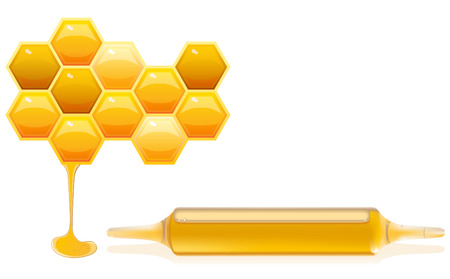 Concept of Nutrition supplements based on honey, vector illustration with honeycells and ampoule of diet supplement