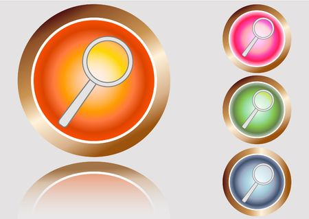 Set of four glossy search buttons, SEO concept Stock Photo - 6642962