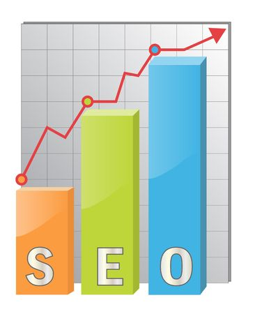 Concept for Search Engine Optimization, glossy icon with diagram Stock Photo - 6642964