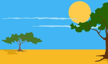 Cartoon illustration of the African Safari landscape