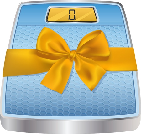 bathroom scale: illustration of digital bathroom scale with yellow gift bow. Concept of the healthy gift. The bow can be easily removed. Just unpick appropriate layers in EPS file.Bonus - hi-res PNG file with transparent background. Stock Photo