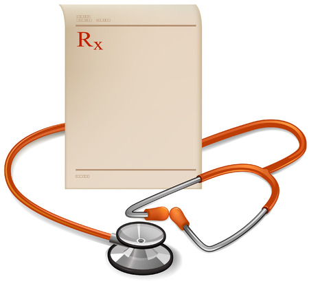 prescription: Medical prescription and Stethoscope isolated in white