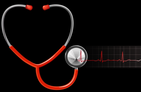 ECG and Stethoscope on black background Stock Vector - 9077512