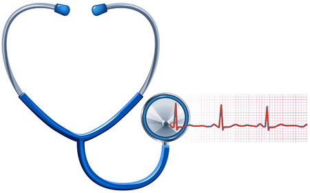 ECG and Stethoscope isolated in white