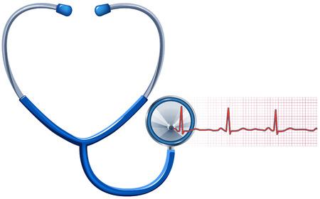 doctors and patient: ECG y estetoscopio aislado en blanco