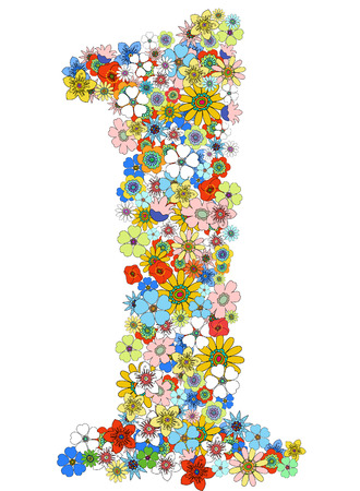 Number one floral, vector. See more on my portfolio Stock Vector - 9077510