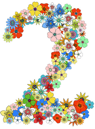 numerical: Number two floral, vector. See more on my portfolio
