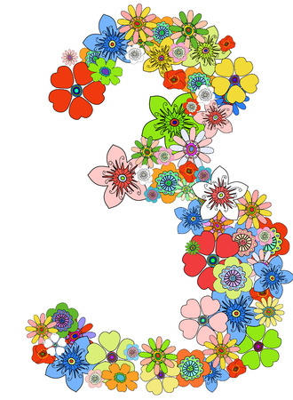 numeral: Number three floral, vector. See more on my portfolio