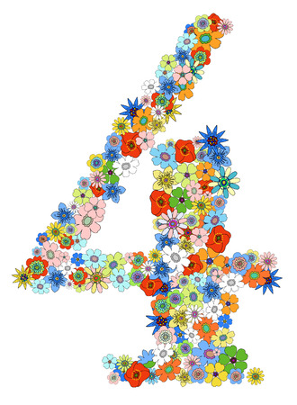 numerology: Number four floral, vector. See more on my portfolio