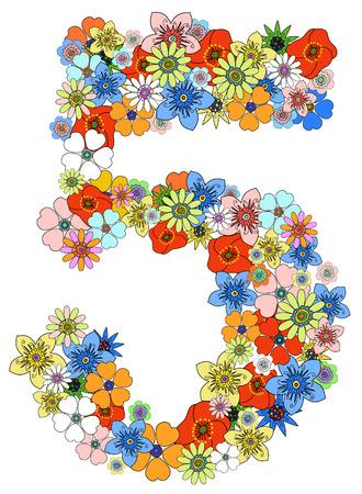 num�rico: Vector floral, n�mero cinco. Ver m�s en mi cartera Vectores