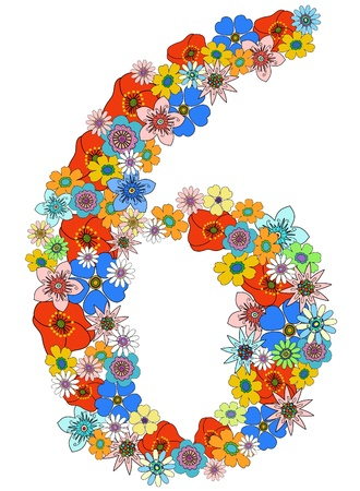Number six floral, vector. See more on my portfolio Vector