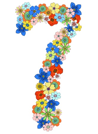 Number seven floral, vector. See more on my portfolio Stock Vector - 9126755