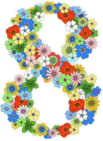 numeral: Number eight floral, vector. See more on my portfolio