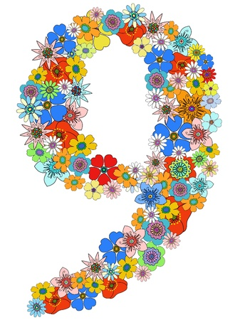 Number nine floral, vector.