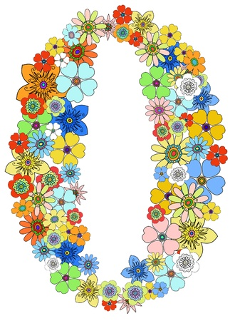 numeral: Number zero floral, vector.  Illustration