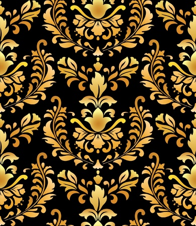 Seamless; gold on black; retro background Vector