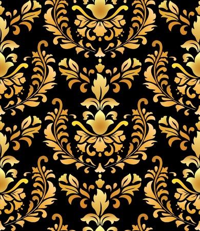 Seamless; gold on black; retro background