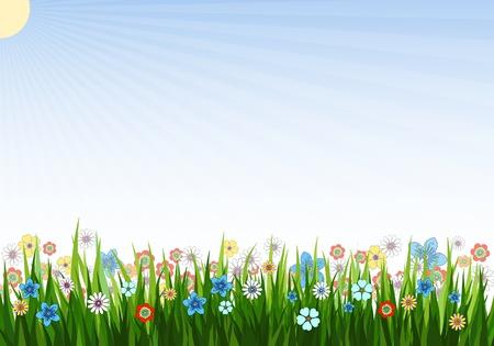 prato e cielo: Illustrazione vettoriale di uno sfondo di primavera con erba, i fiori e sole