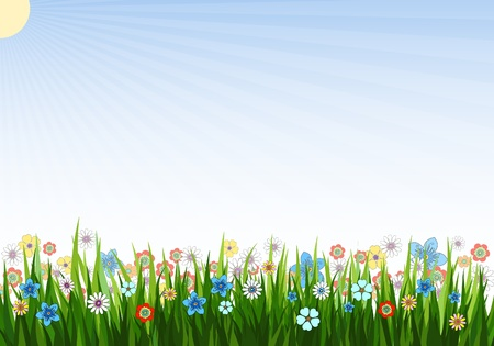 Vector illustration of a spring background with grass, flowers and sun
