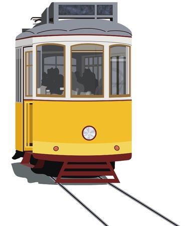 tramway: Tranvia di Lisbona isolato in bianco, vector