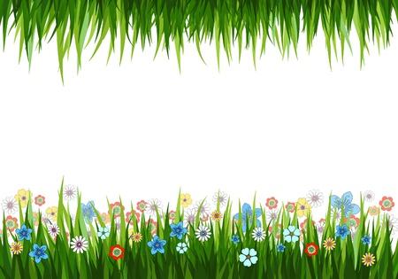 prato e cielo: Illustrazione vettoriale di uno sfondo di natura con erba e fiori Vettoriali